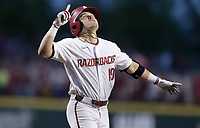 Arkansas catcher Charlie Welch (19) runs home following his home-run, Monday, June 7, 2021 in the eighth inning of the NCAA Fayetteville Regional at Baum-Walker Stadium in Fayetteville. Check out nwaonline.com/210608Daily/ for today's photo gallery. <br /> (NWA Democrat-Gazette/Charlie Kaijo)