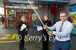Delighted staff of Garveys Supervalu celebrate in Castleisland as the shop sold a winning €235,196  lotto ticket on Saturday last. Front: Seamus O'Connor (Manager of Garvey's). Back l to r:  Elaine Riordan and Noranne O'Connor