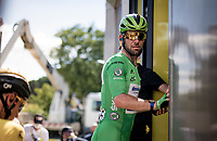 Green Jersey / points leader Mark Cavendish (GBR/Deceuninck - Quick Step) getting ready for the podium after finishing the stage<br /> <br /> Stage 19 from Mourenx to Libourne (207km)<br /> 108th Tour de France 2021 (2.UWT)<br /> <br /> ©kramon