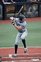 Andy Garriola (9) of the Old Dominion Monarchs at bat against the Charlotte 49ers at Hayes Stadium on April 23, 2021 in Charlotte, North Carolina. (Brian Westerholt/Four Seam Images)