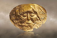 Mycenaean gold death mask, Grave Cicle A, Mycenae, Greece. National Archaeological Museum of Athens. <br /> <br /> This death mask is typical of the other Mycenaean gold death masks fround in Grave V. made from a sigle sheet of gold the shape of the face would have been hammered ot against wood. two holes either side of the gold mask allowed it to be held over the dead mans face. As weapons were found in the graves of Grave Circle A at Mycenae, those buried here wer warriors and maybe kings as the grave goods buried with them were of great value. 16th century BC