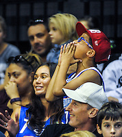 Fans chant in the grandstand during the national basketball league match between Wellington Saints and Nelson Giants at TSB Bank Arena, Wellington, New Zealand on Monday, 28 March 2016. Photo: Dave Lintott / lintottphoto.co.nz