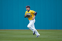 UNCG Spartans right fielder Pres Cavenaugh (29) jogs off the field between innings of the game against the San Diego State Aztecs at Springs Brooks Stadium on February 16, 2020 in Conway, South Carolina. The Spartans defeated the Aztecs 11-4.  (Brian Westerholt/Four Seam Images)