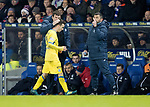 Rangers v St Johnstone…16.12.17…  Ibrox…  SPFL<br />Stefan Scougall gets a pat on the head from manager Tommy Wright as he is subbed<br />Picture by Graeme Hart. <br />Copyright Perthshire Picture Agency<br />Tel: 01738 623350  Mobile: 07990 594431
