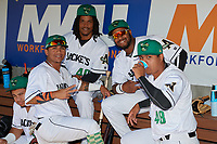 Augusta GreenJackets Ismael Munguia (34), Wander Franco (40), Mikey Edie (46), and Norwith Gudino (48) before a South Atlantic League game against the Lexington Legends on April 30, 2019 at SRP Park in Augusta, Georgia.  Augusta defeated Lexington 5-1.  (Mike Janes/Four Seam Images)