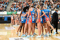 6th June 2021; Ken Rosewall Arena, Sydney, New South Wales, Australia; Australian Suncorp Super Netball, New South Wales, NSW Swifts versus Giants Netball; The Swifts huddle before restart