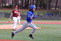 ELON, NC - FEBRUARY 28: Jordan Schaffer #1 of Indiana State University runs to first base during a game between Indiana State and Elon at Walter C. Latham Park on February 28, 2020 in Elon, North Carolina.