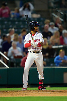 Rochester Red Wings Jecksson Flores (8) bats during a game against the Worcester Red Sox on September 3, 2021 at Frontier Field in Rochester, New York.  (Mike Janes/Four Seam Images)