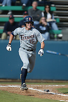Ronnie Prettyman of the Cal State Fullerton Titans bats during a 2004 season game against the Loyola Marymount Lions at Loyola Marymount in Los Angeles, California. (Larry Goren/Four Seam Images)