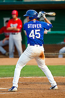 Pat Stover (45) of the Ogden Raptors at bat against the Orem Owlz at Lindquist Field on July 29, 2012 in Ogden, Utah.  The Owlz defeated the Raptors 6-4.   (Brian Westerholt/Four Seam Images)