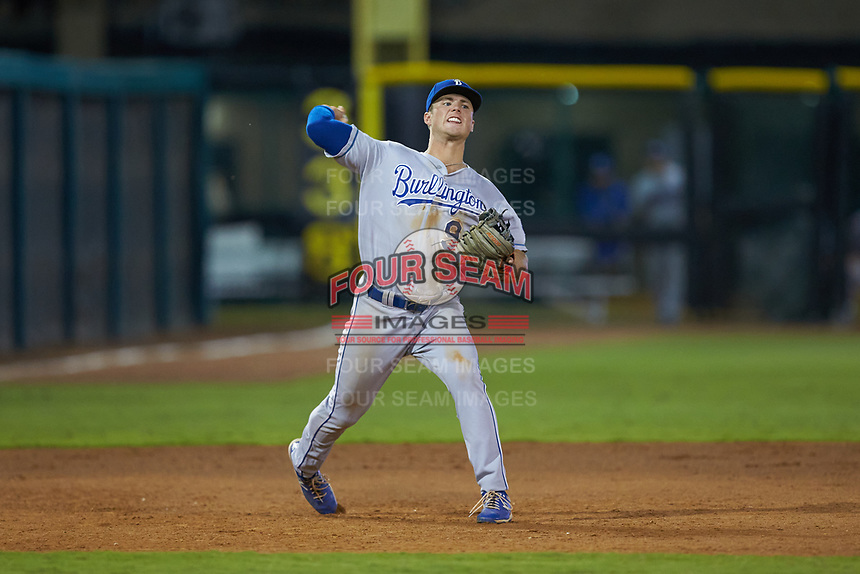 Burlington Royals third baseman Jake Means (9) makes a throw to first base against the Pulaski Yankees at Calfee Park on September 1, 2019 in Pulaski, Virginia. The Royals defeated the Yankees 5-4 in 17 innings. (Brian Westerholt/Four Seam Images)