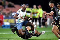27th March 2021; Hamilton, New Zealand;  Mark Telea is takled.<br /> Chiefs versus Blues, Super Rugby  AOTEAROA, FMG Waikato Stadium, Hamilton, New Zealand.
