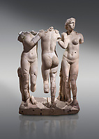 Roman statue of The Three Graces. Marble. Perge. 2nd century AD. Inv no 17.29.81. Antalya Archaeology Museum; Turkey.<br /> <br /> The Three Graces iRoamn statue is of the mythological three charites, daughters of Zeus,  Euphrosyne, Aglaea and Thalia , who were said to represent youth/beauty (Thalia), mirth (Euphrosyne), and elegance (Aglaea).