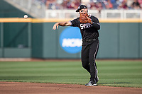 Mississippi State Bulldogs second baseman Justin Foscue (17) makes a throw to first base during Game 4 of the NCAA College World Series against the Auburn Tigers on June 16, 2019 at TD Ameritrade Park in Omaha, Nebraska. Mississippi State defeated Auburn 5-4. (Andrew Woolley/Four Seam Images)
