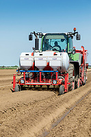 Planting potatoes, applying Nemathorin, fertiliser & Amistar - Lincolnshire, May