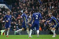 Ben Chilwell celebrates scoring Chelsea's third goal during Chelsea vs Southampton, Premier League Football at Stamford Bridge on 2nd October 2021
