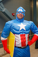A fan dressed as Captain America poses for a photo prior to the game. The men's national teams of the United States (USA) and Colombia (COL) played to a 0-0 tie during an international friendly at PPL Park in Chester, PA, on October 12, 2010.