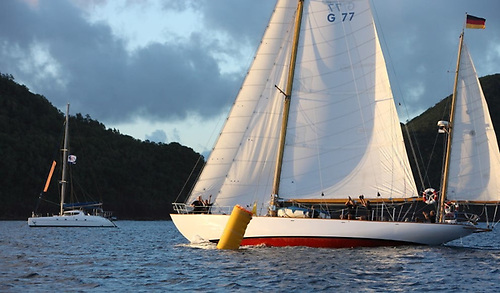 The classic 1936 Henry Gruber-designed yawl Peter von Seestermuhe crosses the line in St Lucia in December to win her class in the ARC 2020.