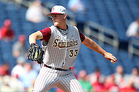 Florida State Seminoles pitcher Bryant Holtmann #33 delivers a pitch during a scrimmage against the Philadelphia Phillies at Brighthouse Field on February 29, 2012 in Clearwater, Florida.  Philadelphia defeated Florida State 6-1.  (Mike Janes/Four Seam Images)