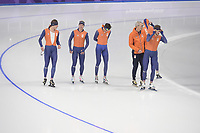 OLYMPIC GAMES: PYEONGCHANG: 17-02-2018, Gangneung Oval, Long Track, Training session, Sven Kramer (NED), Koen Verweij (NED), Patrick Roest (NED), Arie Koops, Jan Blokhuijsen (NED), ©photo Martin de Jong