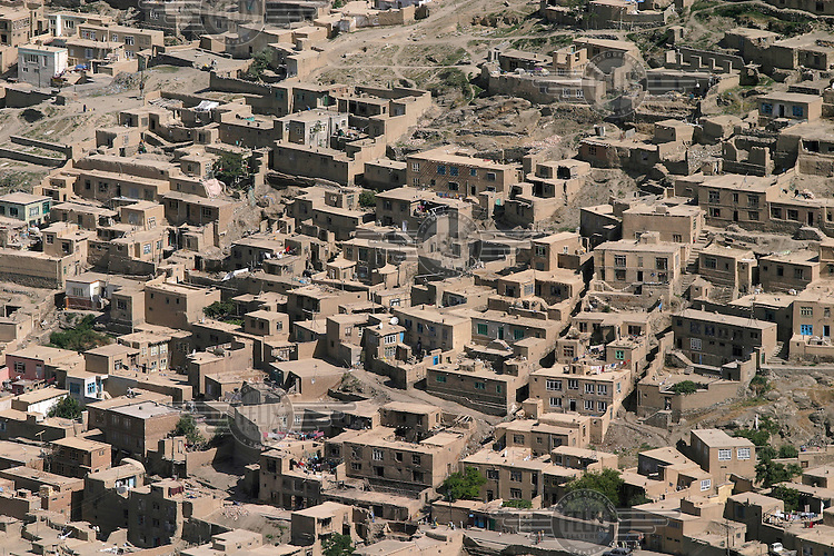 Residential area in central Kabul. Poor neighbourhood with traditional mudhouses.