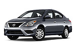 Stock pictures of low aggressive front three quarter view of 2019 Nissan Versa-Sedan SV 4 Door Sedan Low Aggressive