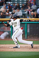 Rymer Liriano (27) of the Salt Lake Bees bats against the Albuquerque Isotopes at Smith's Ballpark on April 5, 2018 in Salt Lake City, Utah. Salt Lake defeated Albuquerque 9-3. (Stephen Smith/Four Seam Images)
