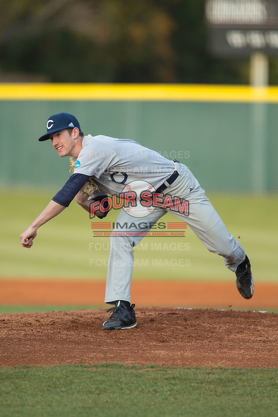 Catawba Indians starting pitcher Bryan Ketchie (16) follows through on his delivery against the Belmont Abbey Crusaders at Abbey Yard on February 7, 2017 in Belmont, North Carolina.  The Crusaders defeated the Indians 12-9.  (Brian Westerholt/Four Seam Images)