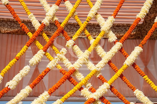 Delhi, India. Birla Mandir Hindu temple to Laxmi and Narayan. Marigold garlands in crisscross design.