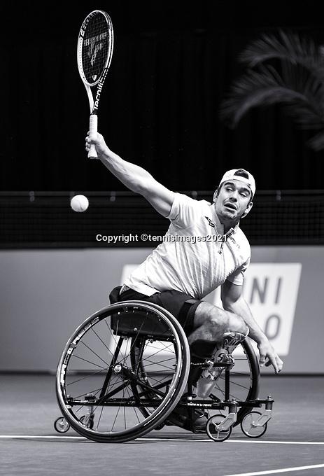Rotterdam, The Netherlands, 4 march  2021, ABNAMRO World Tennis Tournament, Ahoy, First round wheelchair: Martin De La Puente (ESP). Photo: www.tennisimages.com/