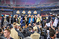 January 01, 2014:<br /> <br /> University of Central Florida Head Coach George O'Leary, quarterback Blake Bortles #5 linebacker Tereance Plummer #41 on the stage during award ceremony for Tostitos Fiesta Bowl at University of Phoenix Stadium in Scottsdale, AZ. UCF defeat Baylor 52-42 to claim it's first ever BCS Bowl trophy.