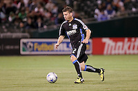 Eric Denton dribbles the ball. San Jose Earthquakes tied Los Angeles Galaxy 1-1 at the McAfee Colisum in Oakland, California on April 18, 2009.