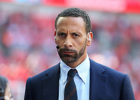 19th May 2018, Wembley Stadium, London, England; FA Cup Final football, Chelsea versus Manchester United; Former Manchester United defender and pundit Rio Ferdinand looks on