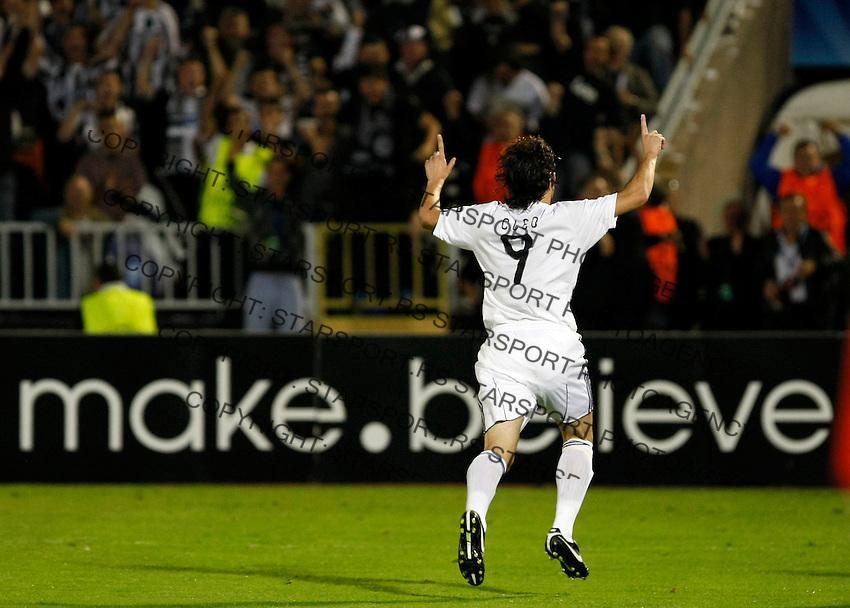 Partizan player Cleo, score the goal, during  UEFA Champions league match in group H FC Partizan Belgrade Vs. Arsenal, London, Serbia, Monday, Sept. 28, 2010.  (Srdjan Stevanovic/Starsportphoto.com)
