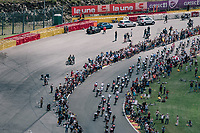 the peloton racing on the Circuit de Spa-Francorchamps over F1's (most) legendary bend Eau Rouge<br /> <br /> 104th Tour de France 2017<br /> Stage 3 - Verviers › Longwy (202km)