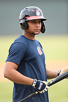 Third baseman Derian Cruz (66) of the Rome Braves takes batting practice before a game against the Columbia Fireflies on Tuesday, June 4, 2019, at Segra Park in Columbia, South Carolina. Columbia won, 3-2. (Tom Priddy/Four Seam Images)