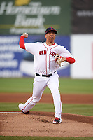 Salem Red Sox pitcher Bryan Mata (34) delivers a pitch during a game before a game against the Lynchburg Hillcats on May 10, 2018 at Haley Toyota Field in Salem, Virginia.  Lynchburg defeated Salem 11-5.  (Mike Janes/Four Seam Images)