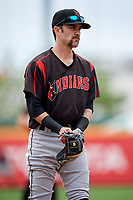 Indianapolis Indians third baseman Nick Franklin (12) during an International League game against the Buffalo Bisons on June 20, 2019 at Sahlen Field in Buffalo, New York.  Buffalo defeated Indianapolis 11-8  (Mike Janes/Four Seam Images)