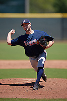 Atlanta Braves pitcher Cameron Kurz (77) during a Minor League Extended Spring Training game against the Tampa Bay Rays on April 15, 2019 at CoolToday Park Training Complex in North Port, Florida.  (Mike Janes/Four Seam Images)