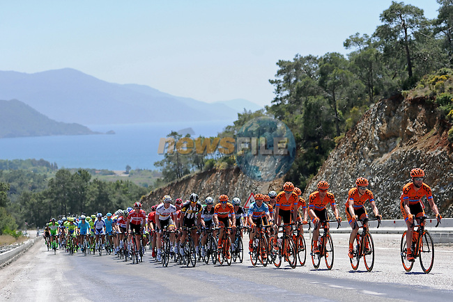 CCC Sprandi Polkowice on the front of the peloton during of Stage 4 of the 2015 Presidential Tour of Turkey running 132km from Fethiye to Marmaris. 29th April 2015.<br /> Photo: Tour of Turkey/Mario Stiehl/www.newsfile.ie