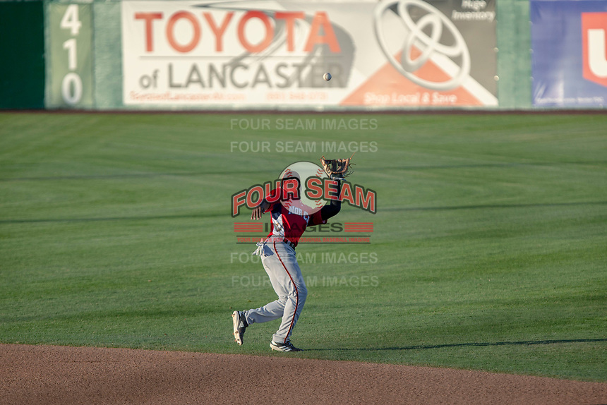 Jalen Miller (2) of the San Jose Giants in action against the South Division during the 2018 California League All-Star Game at The Hangar on June 19, 2018 in Lancaster, California. The North All-Stars defeated the South All-Stars 8-1.  (Donn Parris/Four Seam Images)