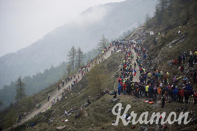 up the dirt roads of the Colle delle Finestre (2178m)<br /> <br /> Giro d'Italia 2015<br /> stage 20: Saint Vincent - Sestriere (199km)