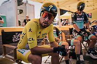 yellow jersey / GC leader & World Champion Peter Sagan (SVK/Bora-Hansgrohe) just before the start<br /> <br /> Stage 3 (Team Time Trial): Cholet > Cholet (35km)<br /> <br /> 105th Tour de France 2018<br /> ©kramon