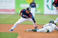 Kane County Cougars second baseman Gioskar Amaya #13 attempts to tag Brett Vertigan #2 sliding in during a game against the Beloit Snappers May 26, 2013 at Fifth Third Bank Ballpark in Geneva, Illinois.  Beloit defeated Kane County 6-5.  (Mike Janes/Four Seam Images)