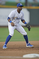 Omaha Storm Chasers third baseman Irving Falu #12 takes his defensive stance during the game against the Reno Aces at Werner Park on August 3, 2012 in Omaha, Nebraska.(Dennis Hubbard/Four Seam Images)