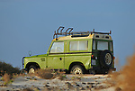 Spain, Canary Islands, Fuerteventura, Parque Natural de los Dunas de Corralejo (near El Cotillo). Land Rover Santana. --- No releases available. Automotive trademarks are the property of the trademark holder, authorization may be needed for some uses.