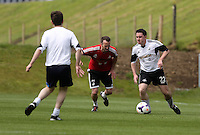 Pictured: Chris Wathan (R). Tuesday 06 May 2014<br /> Re: Members of the local press play football against Swansea City FC coaches and members of staff at the Club's training ground in Fairwood, south Wales.