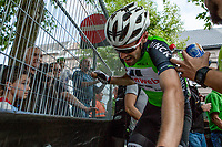 Overall winner Tom Dumoulin (NED/Sunweb) exhausted after finishing the last stage in Geraardsbergen. <br /> <br /> Binckbank Tour 2017 (UCI World Tour)<br /> Stage 7: Essen (BE) > Geraardsbergen (BE) 191km