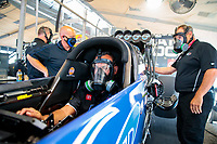 Jul 18, 2020; Clermont, Indiana, USA; NHRA top fuel driver Tony Schumacher during qualifying for the Summernationals at Lucas Oil Raceway. Mandatory Credit: Mark J. Rebilas-USA TODAY Sports