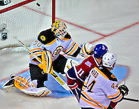 22 April 2009: Boston Bruins' goaltender Tim Thomas gives up Boston's lone goal in the opening minutes of the first period to the Montreal Canadiens at the Bell Centre in Montreal, Quebec, Canada. Thomas went on to make 26 saves as the Bruins eliminated the Canadiens from Stanley Cup competition with their 4-1 win and series sweep. ***** Editorial Sales Only ***** Mandatory Credit: Ed Wolfstein Photo